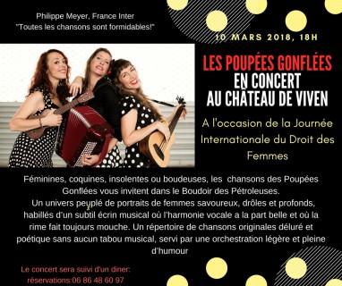 """Concert """"Les poupées gonflées"""" le 10 mars à 18 heures-Théâtre du château de Viven(64450)"""